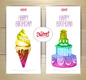 Set of art cake or dessert banners Stock Images