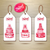 Set of art cake or dessert banners. Royalty Free Stock Images