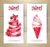 Set of art cake or dessert banners and labels design Stock Image