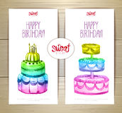 Set of art cake or dessert banners.  labels design Stock Photos