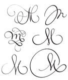 Set of art calligraphy letter M with flourish of vintage decorative whorls. Vector illustration EPS10 Stock Image