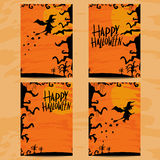 Set of art cards for Happy Halloween Stock Photo
