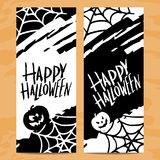 Set of art cards for Happy Halloween Royalty Free Stock Image
