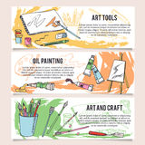 Set of art and craft tools design templates banners. Royalty Free Stock Image