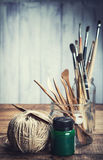 Set of art and craft tools royalty free stock photography