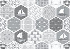 Set art deco bezszwowi wzory Eleganckie nowożytne tekstury abstrakcjonistyczni tła Zdjęcia Stock