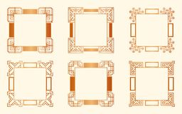 Art Deco Frames. Set of Art deco borders and frames. Creative template in style of 1920s for your design. Vector illustration. EPS 10 royalty free illustration