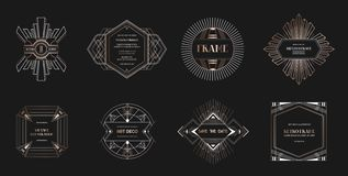 Set of Art deco borders and frames. Geometric template in 1920s Gatsby style for your wedding card, save the date design. Cover, banner decoration. Vector royalty free illustration