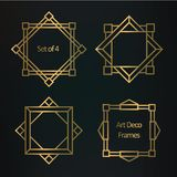 Set of geometric art deco borders and frames. Set of Art deco borders and frames. Template in style of 1920s for your design. Vector illustration Stock Photos
