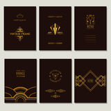 Set of Art Deco Cards and Frames. Set of Art Deco Cards and Vintage Frames - in vector Royalty Free Stock Images