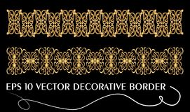 Set of art deco embossed filigree ornamental borders in golden design, eps 10  Royalty Free Stock Photos