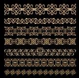 Set art deco embossed ornamentacyjne granicy w złotym projekcie Obrazy Stock
