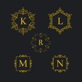 Set art deco luxury classic linear monochrome golden minimal hipster geometric vintage vector monogram, frame, border Stock Images