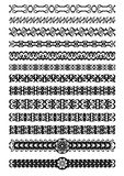 Set of art deco ornamental borders in black white, vintage ornament for book, leaflet, poster, menu, invitation, eps 10  Royalty Free Stock Photography