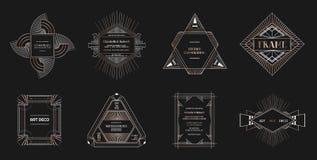 Set art deco ramy i granicy Geometryczny szablon w 1920s Gatsby stylu dla twój ślubnej karty, save daktylowego projekt ilustracja wektor