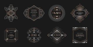 Set art deco ramy i granicy Geometryczny szablon w 1920s Gatsby stylu dla twój ślubnej karty, save daktylowego projekt royalty ilustracja