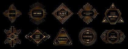 Set art deco ramy i granicy Geometryczny szablon w 1920s Gatsby stylu dla twój projekta, ślubna karta, okładkowy sztandar ilustracji