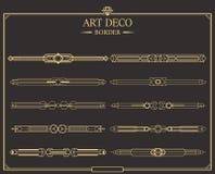 Set art deco strony złociści kaligraficzni dividers ilustracja wektor