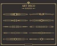 Set art deco strony złociści kaligraficzni dividers royalty ilustracja