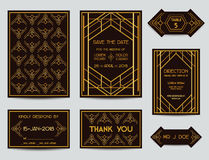 Set of Art Deco Wedding Cards Stock Photography