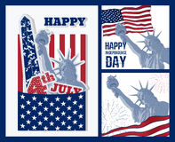 Set of art design of Statue of Liberty with american flag. Design for fourth july celebration USA. American symbol. Stock Image