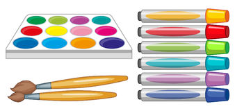 Set of art equipments. Illustration Stock Images