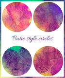 Set of art grunge batik circles. Stylization pastel colors, watercolors. Vintage textured backdrop with pink, red Stock Images