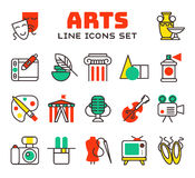 Set of art icons in flat design camera picture brush palette entertainment symbols and artist ink graphic color Royalty Free Stock Photos