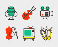 Set of art icons in flat design camera picture brush palette entertainment symbols and artist ink graphic color Stock Photography