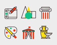 Set of art icons in flat design camera picture brush palette entertainment symbols and artist ink graphic color Stock Image