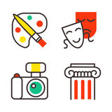 Set of art icons in flat design camera picture brush palette entertainment symbols and artist ink graphic color Stock Photo