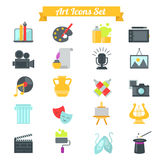 Set of art icons in flat design with long shadows Stock Photo