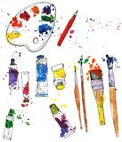 Set of art materials Royalty Free Stock Photography
