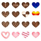 Set of art milk chocolate in heart shape Royalty Free Stock Photos