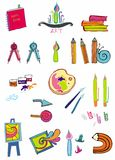 Set of art supplies. Colorful set of art supplies Stock Image