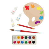 Set of art supplies. Set of paints and brush, art supplies. Vector Stock Photography