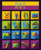 Set of art, theater and music flat icons with Stock Images