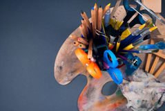 Set of art tools. Stock Images