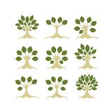 Set of art trees for your design Royalty Free Stock Image