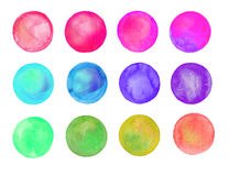 Set of art watercolor circles. Watercolor design elements isolated on white background royalty free illustration
