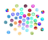 Set of art watercolor circles. Watercolor design elements isolated on white background Royalty Free Stock Photo