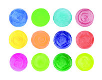 Set of art watercolor circles. Watercolor design elements isolated on white background Stock Illustration