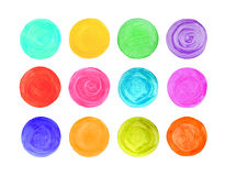 Set of art watercolor circles. Watercolor design elements isolated on white background vector illustration