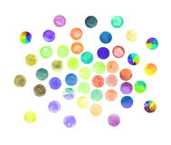 Set of art watercolor circles. Watercolor design elements on white background stock illustration