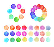Set of art watercolor circles. Watercolor design elements on white background vector illustration