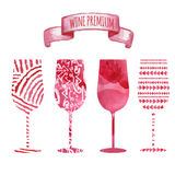 Set of art watercolor wine glass Royalty Free Stock Photography