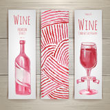 Set of art wine banners and labels Stock Images