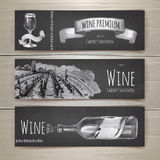 Set of art wine banners and labels design Royalty Free Stock Image