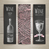 Set of art wine banners and labels design. Royalty Free Stock Photos