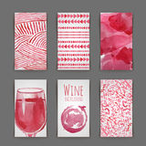 Set of art wine cards and labels Royalty Free Stock Photo